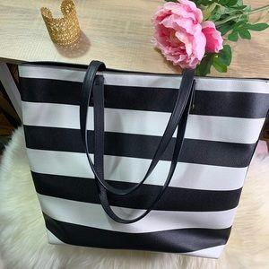 StellaDot Black and White Stripe Tote Bag